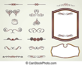 wektor, układa, etykiety, elements., calligraphic