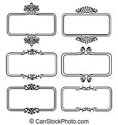 wektor, układa, komplet, ilustracja, calligraphic