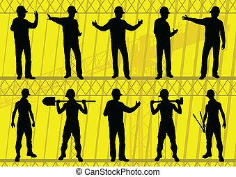 wektor, umiejscawiać, ilustracja, sylwetka, zbudowanie, zbiór, tło, budowniczowie, inżynierowie