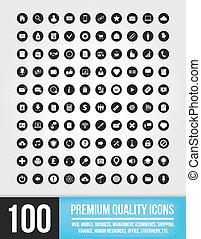 wektor, uniwersalny, mobi, 100, ikony