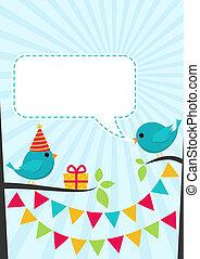 wektor, urodzinowa partia, karta, z, sprytny, ptaszki, na, drzewa