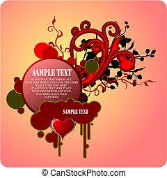 wektor, valentine`s, powitanie, dzień, card., ilustracja