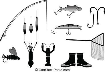 wektor, wędkarski, ilustracja, przybory