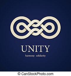 wektor, węzeł, jedność, papier, projektować, szablon