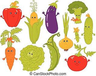 wektor, warzywa, smiley, rysunek, twarze