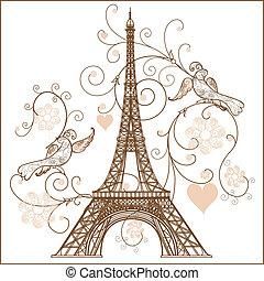wektor, wieża, eiffel, ilustracja