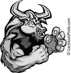 wektor, wizerunek, graficzny, krowa, byk