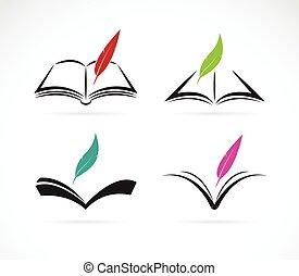 wektor, wizerunek, książka, tło, białe pióro