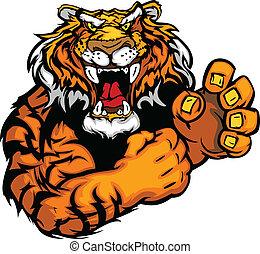 wektor, wizerunek, od, niejaki, tiger, maskotka