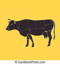 wektor, wołowina, ilustracja, skaleczenia