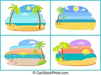 wektor, wybrzeże, plaża, zbiór, ilustracja