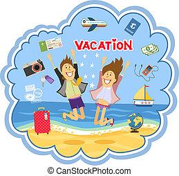 wektor, wybrzeże, urlop, ilustracja