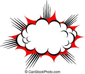 wektor, wybuch, chmura