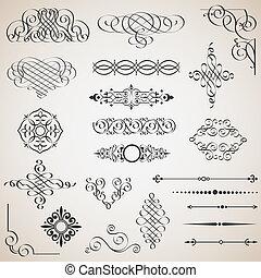 wektor, wystawiany zamiar, elementy, calligraphic