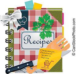 wektor, xxl, książka, gotowanie, ikona