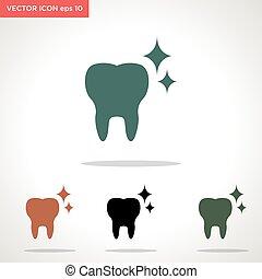 wektor, ząb, biały, ikona, odizolowany, tło