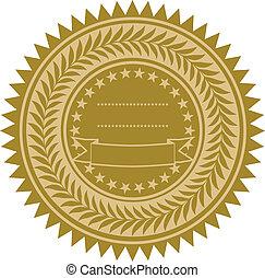 wektor, złota wstążka, znak