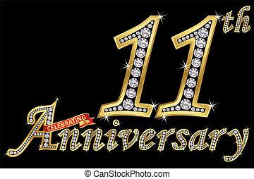 wektor, złoty, świętując, rocznica, 11, dzwonek, znak, ...
