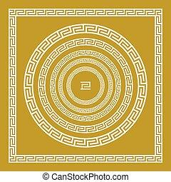 wektor, złoty, skwer, złoty, rocznik wina, ozdoba, tradycyjny, grek, komplet, grecja, meandry, brzeg, okrągły