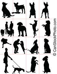 wektor, zły, komplet, psy, silhouette.