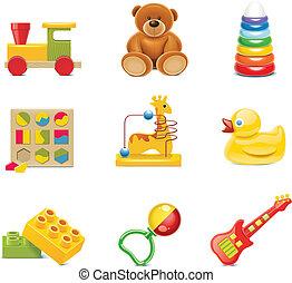 wektor, zabawka, icons., niemowlę, zabawki