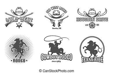 wektor, zachód, rodeo, etykiety, dziki