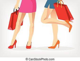 wektor, zakupy, ilustracja