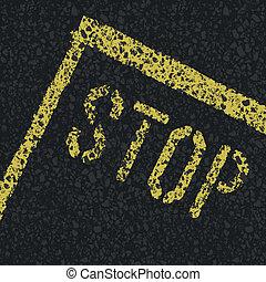 wektor, zatrzymywać, road., znak