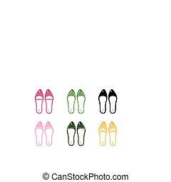 wektor, zbiór, od, retro, wektor, obuwie, odizolowany, na białym