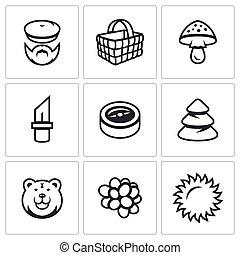 wektor, zebranie, instrument, owoc, orientacja, icons., ...