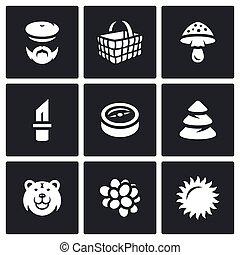 wektor, zebranie, komplet, las, icons.