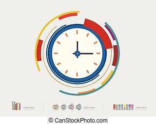 wektor, zegar, ilustracja, ikona