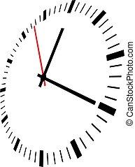 wektor, zegar, ilustracja, twarz