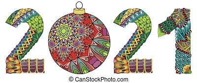 wektor, zentangle., dekoracyjny, obiekt, boże narodzenie, 2021, liczba, piłka