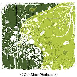 wektor, zielony, kwiat, grunge, ornament.
