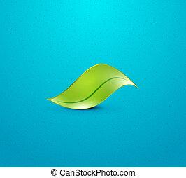 wektor, zielony, pojęcie, liść