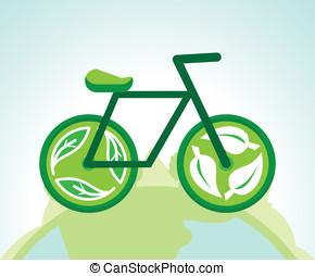 wektor, zielony, rower, z, przerabianie surowców wtórnych, znaki