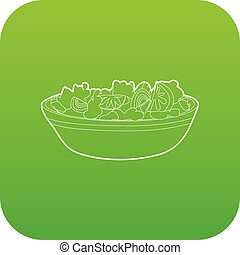 wektor, zielony, salat, owoc, ikona