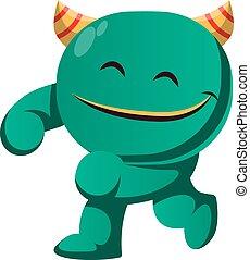 wektor, zielony, usatysfakcjonowany, ilustracja, potwór