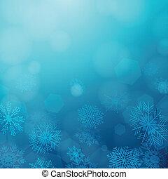 wektor, zima, tło, płatki śniegu
