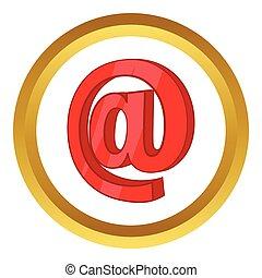 wektor, znak, email, czerwony, ikona