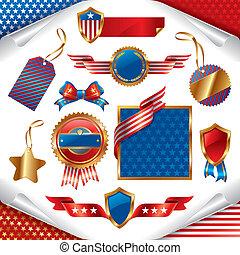 wektor, znaki, usa, emblemat, patriotyczny, etykiety, zbiór...