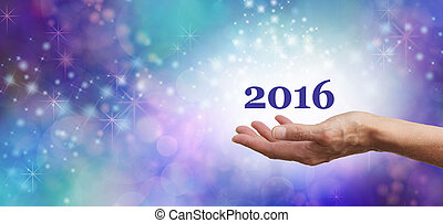 Welcome 2016 Celebration Banner - Female hands outstretched...
