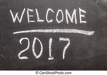 Welcome 2017 on the chalk board