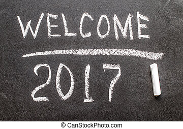 Welcome 2017 on the chalk board.