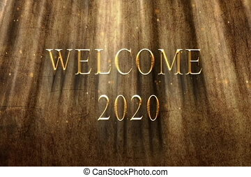Welcome 2020 ancient backround animation - 3D rendering