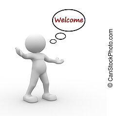 Welcome - 3d people - man, people - welcome gesture
