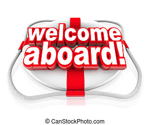 Welcome Aboard Words Life Preserver Naval Initiation Greeting