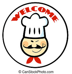 Welcome Asian Chef Face Circle - Asian Winked Chef Man Face...
