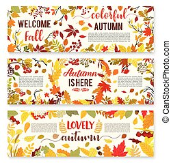 Welcome autumn banner set with fall leaf wreath. Autumn...